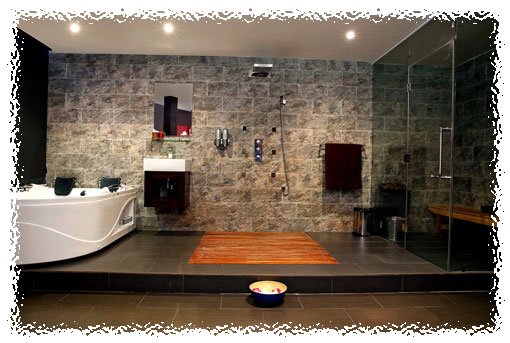 Shower, sauna and spa area in VIP room